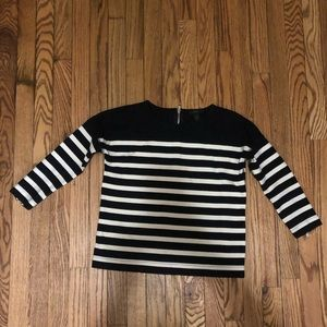 J. Crew Black and White Striped 3/4 sleeve Top